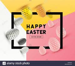 an abstract easter frame design with 3d effects and room for stock