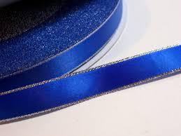 wide satin ribbon blue ribbon offray royal blue silver edge faced satin