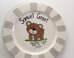 baby birth plates personalized baby plate etsy
