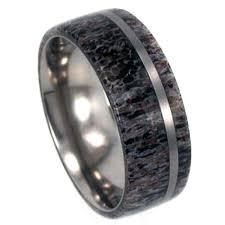 Deer Antler Wedding Rings by Deer Antler Wedding Band Titanium Ring Men U0027s Wedding Band