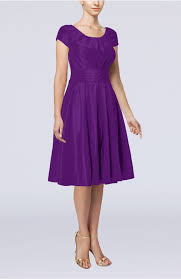purple dresses for weddings knee length purple guest dress simple a line scoop sleeve taffeta