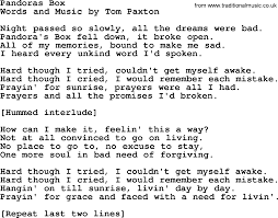 Box Songs Pandoras Box By Tom Paxton Lyrics