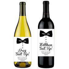 wine bottle bow bowtie will you be my groomsman personalized wine labels 6 pcs