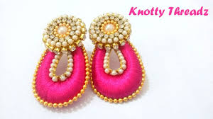 How To Make Tear Drop Shaped Silk Thread Earrings At Home