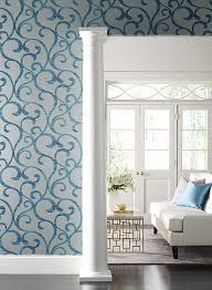 dazzling coil wallpaper in grey and metallic peacock by york