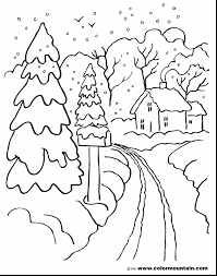 with free impressive winter landscape drawing for kids printable