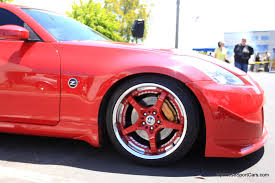 Nissan 350z Red - custom red nissan 350z volk racing sf challenge wheels picture