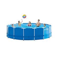 Intex Inflatable Pool Intex 15 Ft Wide X 48 In Deep Round Metal Frame Pool Set 28235eh