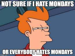 I Hate Mondays Meme - not sure if i hate mondays or everybody hates mondays meme