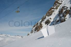 two blank winter sport ski pass tickets with mountain cable car and