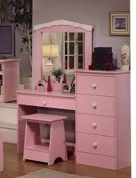 Bedroom Furniture For Little Girls by Princess Pink Finish Girls Kids Vanity Dresser With Mirror