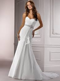 chiffon ruched a line wedding dress with beaded belt and