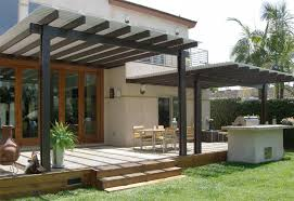 Clear Patio Roofing Materials Exterior Cool Modern Lattic Patio Cover With Wood Material And