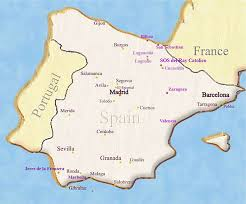 spain on a map map of spain