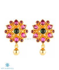 kempu earrings the puspavat silver kempu ear studs buy handmade temple jewelry