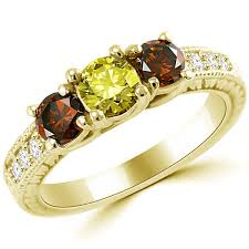 stone vintage rings images 3 stone canary yellow red diamond bridal engagement ring jpg