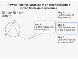 how to find the measure of an inscribed angle given some arc