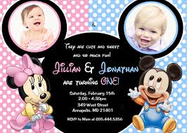 Mickey Mouse Invitation Cards Printable Minnie Mouse Mickey Mouse Baby One Twins First Birthday Party