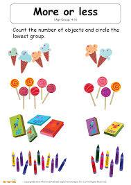 more or less worksheet math for kids mocomi