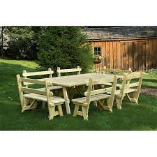 Picnic Table With Benches 8 Foot Picnic Table With 4 Backed Benches