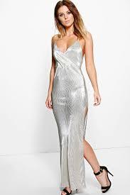 polly metallic drape thigh split maxi dress g a l a 2 0 1 7