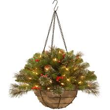 20 crestwood spruce hanging basket with battery operated warm
