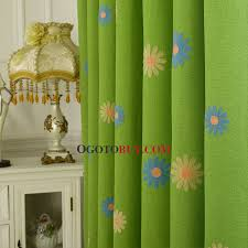 green floral embroidery linen country curtains on sale for bedroom