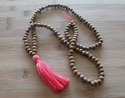 long beaded tassel necklace images Coral long tassel necklace mala yoga tassel necklace wooden bead jpg