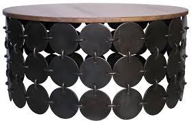 wood top coffee table metal legs unique teak wood top coffee table with circle black metal