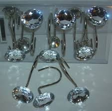 12 decorative rhinestone rolling shower curtain hooks crystal