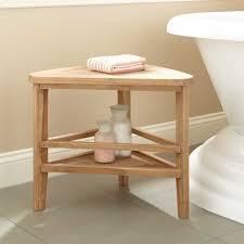 teak corner shower stool bathroom