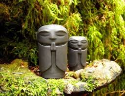 tiny jizo statues guardian of children and travelers and