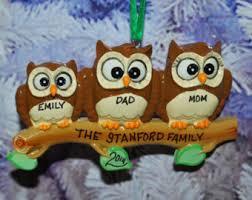 owl family ornament etsy