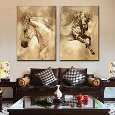2 pcs set modern oil painting horse on canvas gear snare