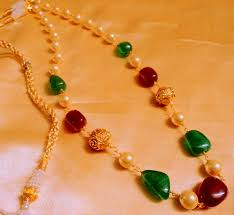 buy ruby green mala with gold balls