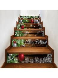 baubles pine tree pattern stair stickers decor