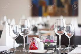 Dining Table Set Up Formal Dining Table Set Up With Flower In Luxury Restaurant Banque