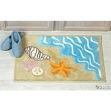 Seashell Bathroom Rug Watercolor Anchor With Coral Bath Mat Bath Mats Pinterest