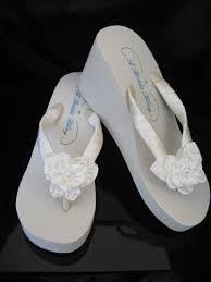 wedding flip flops ivory wedge bridal flip flop with large satin flower sandals