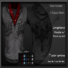 second life marketplace jaded live fast hoodie mens