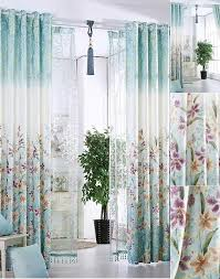 Blue Floral Curtains American Country Style Jacquard Material Floral Curtains