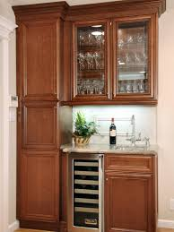 Glass Door Bar Fridge For Sale by Furniture Brown Polished Wooden Built In Small Kitchen Cabinet