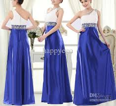 new blue poplin zipper one shoulder wedding dress bridesmaid