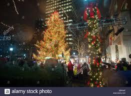 the metrotech tree at their 25th annual tree lighting in