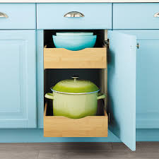 roll out shelves for kitchen cabinets cabinet drawers bamboo pull out cabinet drawers the container store