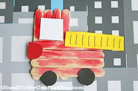 popsicle stick firetruck kid craft glued to my crafts