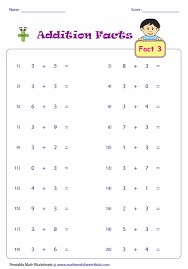 addition facts worksheets