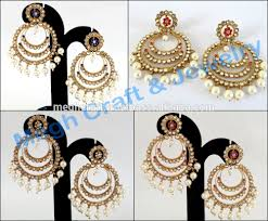 Costume Chandelier Earrings Bollywood Style Kundan Chandelier Earring Fashion Wear Costume