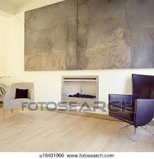 stock images of large abstract painting above fireplace in modern