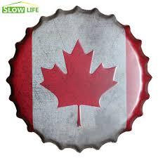 tin home decor 35cm canada flag beer bottle cap metal tin sign vintage home decor